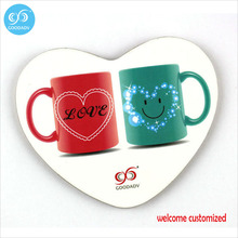 Various lovely cups customized printed heart shape fiberboard center durable cup placemat 15 pieces/lot free shipping fancy drin