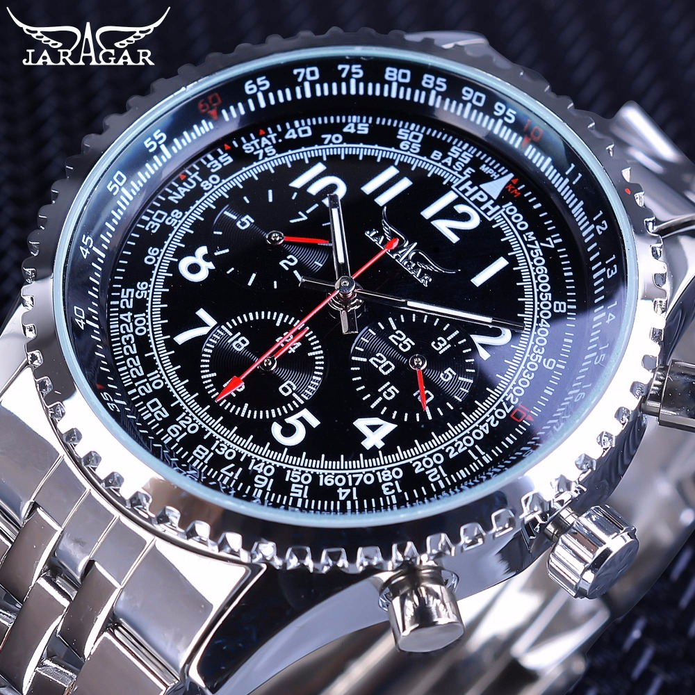 Jaragar Military Avigator Series Silver Stainless Steel Luminous Hand Men Watch Top Brand Luxury Automatic Mechanical Wristwatch<br>