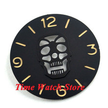 Parnis 38.9mm black Skull face sandwich dial golden marks watch dial fit for 6497 movement D34