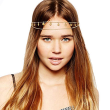 New brand jewel Sequins front ply vintage junk Head Hair hair accessories belt Chain(China)