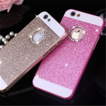 Luxury Bling Rhinestone Cases Fundas for Apple iPhone 5S 5 SE 6 6S Plus 4 4S Glitter Pink PC Cover Mobile Phone Case Accessories(China)