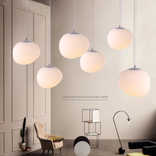 E27Nordic Globe Pendant Lights White Glass Ball Pendant Lamp Lustre Suspension Kitchen Light Fixture Lighting lamparas colgantes(China)