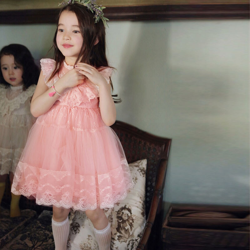 2017 Girls Tutu Lace Dress Pink Ruffles Embroidered Princess Party Dresses Western Holiday Dress<br><br>Aliexpress