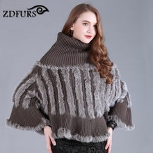ZDFURS * autumn and winter female fur cape turtleneck knitted rabbit fur shawl fur cloak outerwear rabbit fur poncho ZDKR-165011