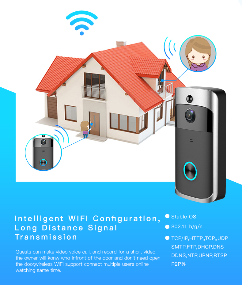 04 Wireless Doorbell Ring Chime Door Bell Video Camera WiFi IP 720P Waterproof IR Night Vision Two Way Audio