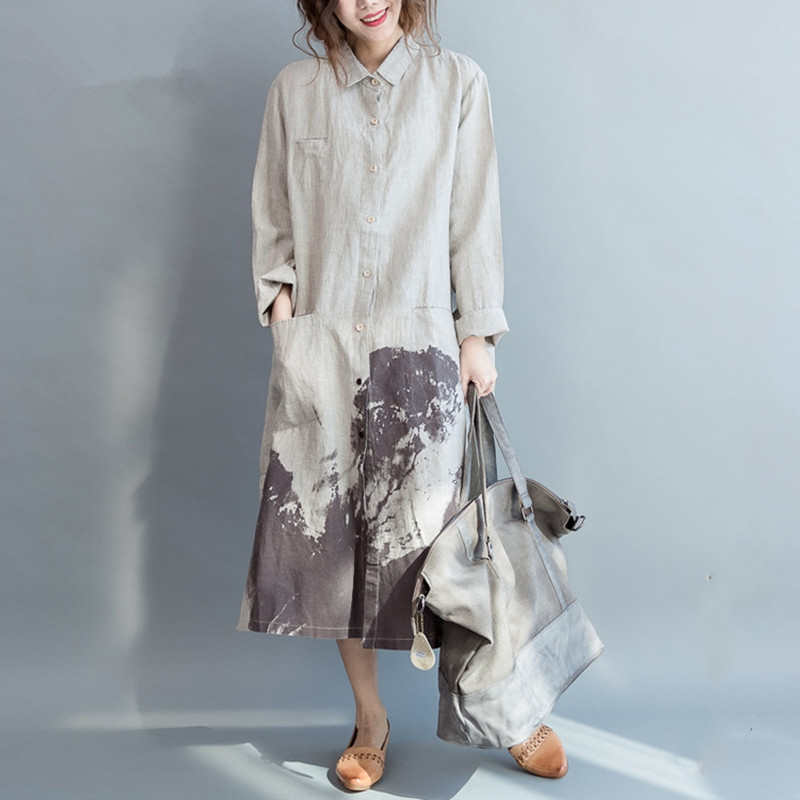 Clobee Women Shirt Dress Long Sleeve Linen Cotton Vintage dress Summer Linen dress White patterns Casual Korean kimono Dress(China (Mainland))