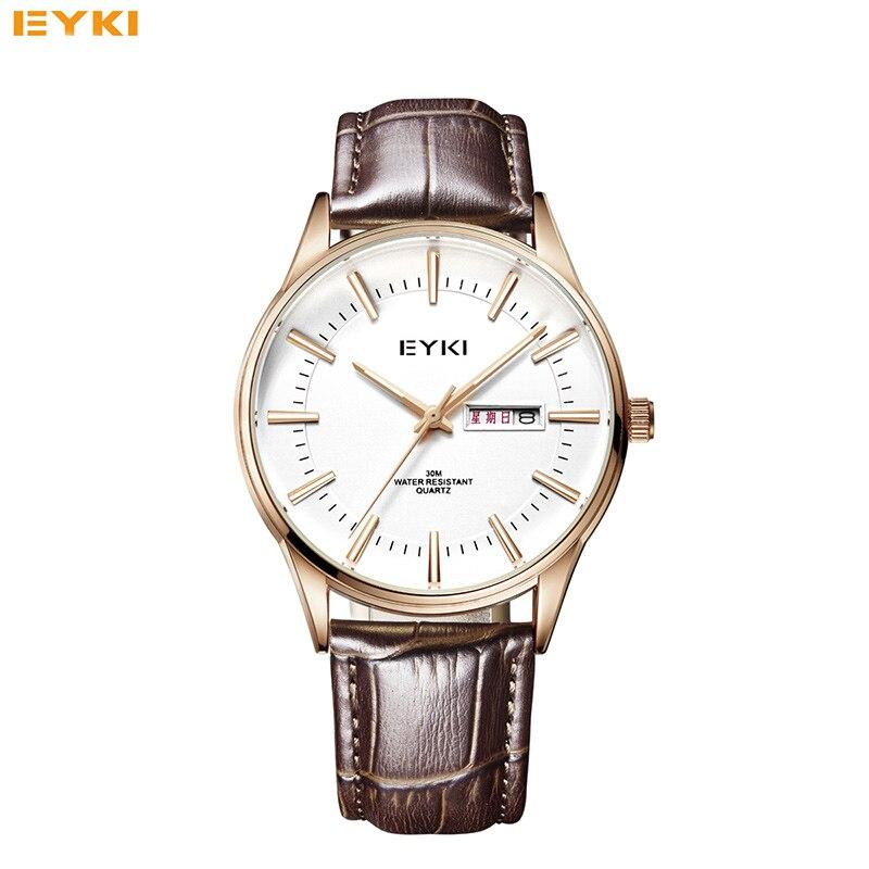 EYKI Brand Man Genuine Leather Strap Business Quartz Watches Roman Scale Luminous Hand Calendar Men Watch Relojes<br>