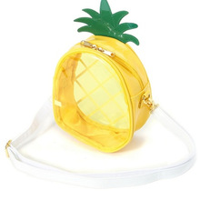 Lovely Pineapple Shaped Transparent Crossbody Bags for Women Summer Clear Fruit Beach Bag pu Leather Girls sac a main Q148