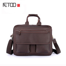 AETOO Crazy Horse male Baotou cowhide Shoulder Messenger Laptop models provided vertical Leather Briefcase Bag(China)