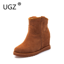 UGZ Cow Leather Boots Women Winter Warm Cotton Shoes Female Hidden Wedges Increased Ankle Boots Suede Chestnut/Black/Grey