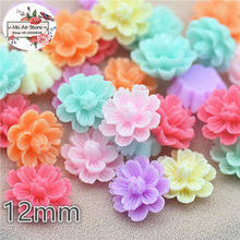 50pcs 12mm Mixed Color flower daisy resin flatback cabochon DIY jewelry/phone decoration No Hole