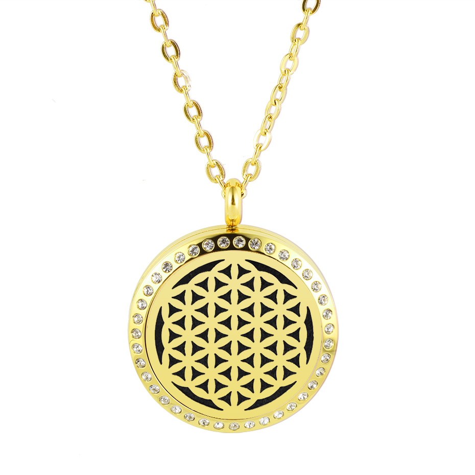 flower of life diffuser necklace silver gold rose gold 20mm 25mm 30mm locket jewelry (6)