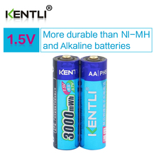 KENTLI 2pcs/lot Stable voltage 3000mWh AA batteries 1.5V rechargeable battery lithium polymer battery for camera ect(China)
