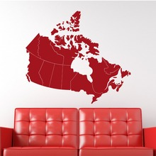 "Canada Map 36""W Wall Decals Patriotic Map Artwork Canadian Maple Leaf Vinyl Waterproof Adhesive Wall Stickers Houseware SYY518"