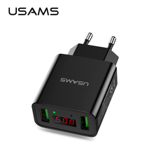 USAMS 2 USB phone charger totally max 2.2A output current EU/US charger for iPhone Samsung Xiaomi charger(China)