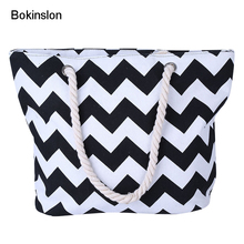 Bokinslon Hemp Rope Bags For Women Simple Cnvas Woman Crossbody Bag Wave Stripes Casual Ladies Bags Practical