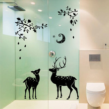 Animal 3D Waterproof Sticker Name Moonless Deer DIY Vinyl Wall Stickers For Glass Bathroom Home Decor Stencils for Walls Decals