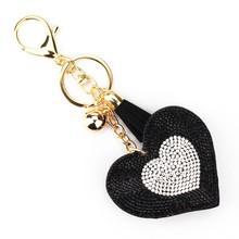 9 Colors New Arrival PU Leather Keychain Girl's Romantic Rhinestone Heart Design Pendant Key Chains Rhinestone Bag Keychain Gift