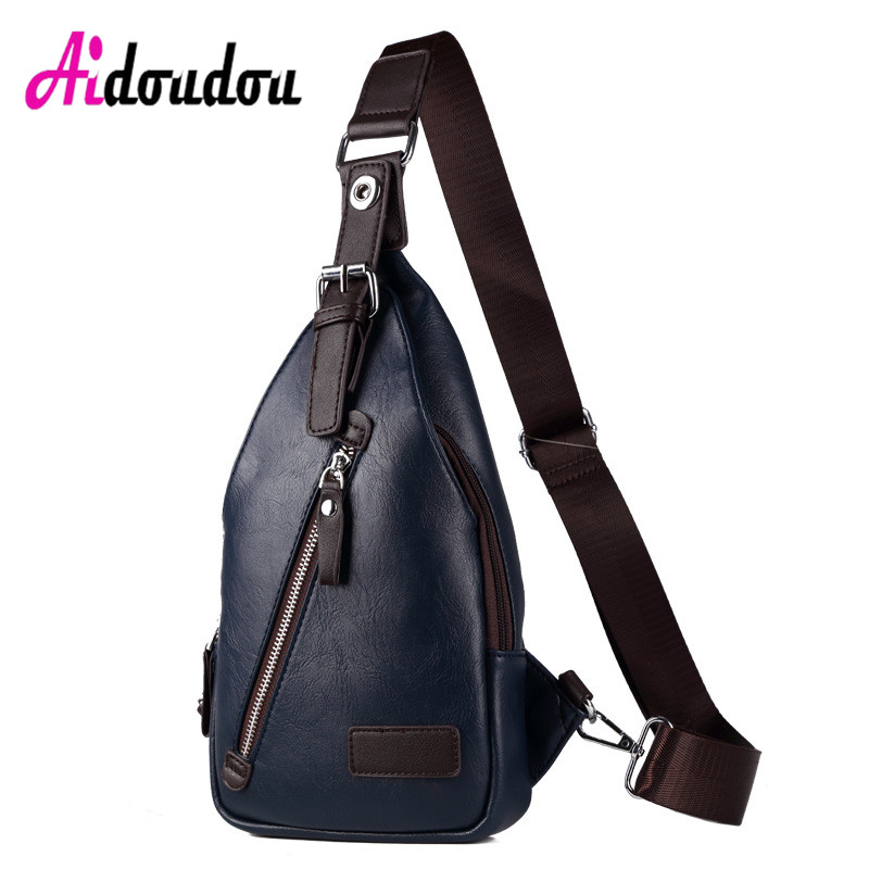 New Men PU Leather Sling Chest Bag Casual Male Travel Cross Body Messenger Shoulder Chest Pack For Teenager Bag<br>