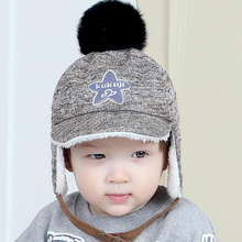 Baby Hat Winter Pom pom Boys Girls Thick Warm Earflap Beanie Cap for Child Adjustable HTZZ35(China)