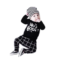New 2017 Autumn baby boy girl clothes Newborn long-sleeved Letter Like A Boss T-shirt+pants 2pcs/suit infant clothing set