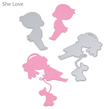 She Love 2pcs Scrapbooking Metal Cutting Dies Pet Children Stencil DIY Decorative Album Embossing Paper Crad Craft(China)