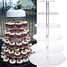 6 Tiers Cake Stand Fondant Cake Rack Crystal Acrylic Round Cupcake Wedding Anniversary Birthday Craft Display Homestyle US02