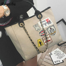 Rdywbu 2017 Trend Canvas Leisure Patch Chain Shoulder Bag Women Street Beat Badge Handbag Large Capacity Casual Tote Handbag H81
