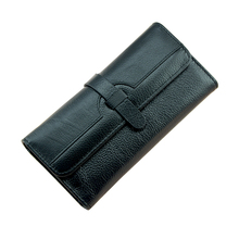 100% Lychi Cowhide Leather Wallet Women Trifold Long Genuine Leather Clutch Purse Hasp Female Cellphone Bag Girl Card Holder(China)