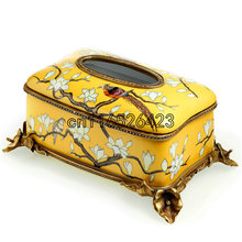 Classic luxury napkin box creative hand-painted table decoration retro ceramic box room decoration