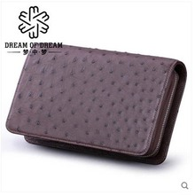 mengzhongmeng imported ostrich skin man clutch bag holds stylish leather handbag with a leather hand(China)