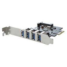 4-Port SuperSpeed USB 3.0 PCI 15-pin SATA Power Connector Express Controller Card Adapter Low Profile