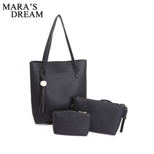 Mara's Dream Brand Large Capacity PU Leather Handbags Tassel Women's Casual Shopper Bags High Quality Tote Shoulder Bag Bolsas