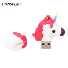 Transcend USB flash card cartoon Unicorn 4GB 8GB 16GB 32GB 64GB cute rainbow horse capacity large U disk pendrive wedding gift(China)