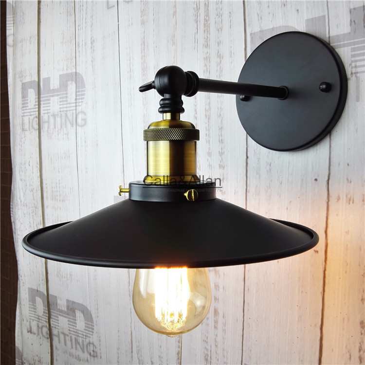 Free shipping adjustable D220mm iron shade edison wall lamp industrial bedroom beside lamp fixture artist industrial lighting<br>