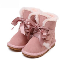 2016 Pink Girls Snow Boots Princess Bow Warm Fur Boots Kids Baby Girl Winter Boots Genuine Leather Girls Shoes
