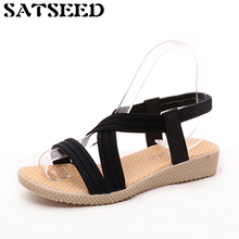 Fashion 2018 Women Sandals Summer Shoes Female New Simple Flat Fish Mouth Sandals Pure Color Elastic Belt Rome Sandals Plus Size(China)