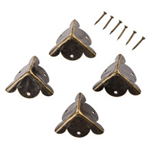 4Pcs Antique Corner Bracket Jewelry Gift Box Wood Case Decorative Feet Leg Corner Decorative Protector Furniture Fittings+Nails