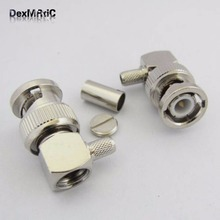 1pc BNC male plug RF Coax Connector right angle Crimp for RG58 RG142 LMR195 Nickelplated for radio antenna(China)