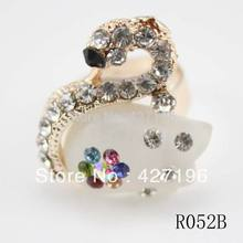 Rhinestone Swan Ring Mix Color 3 Pieces A Lot Fashion Jewelry Cheap Neon Rings For Women 2017 Autumn Accessories