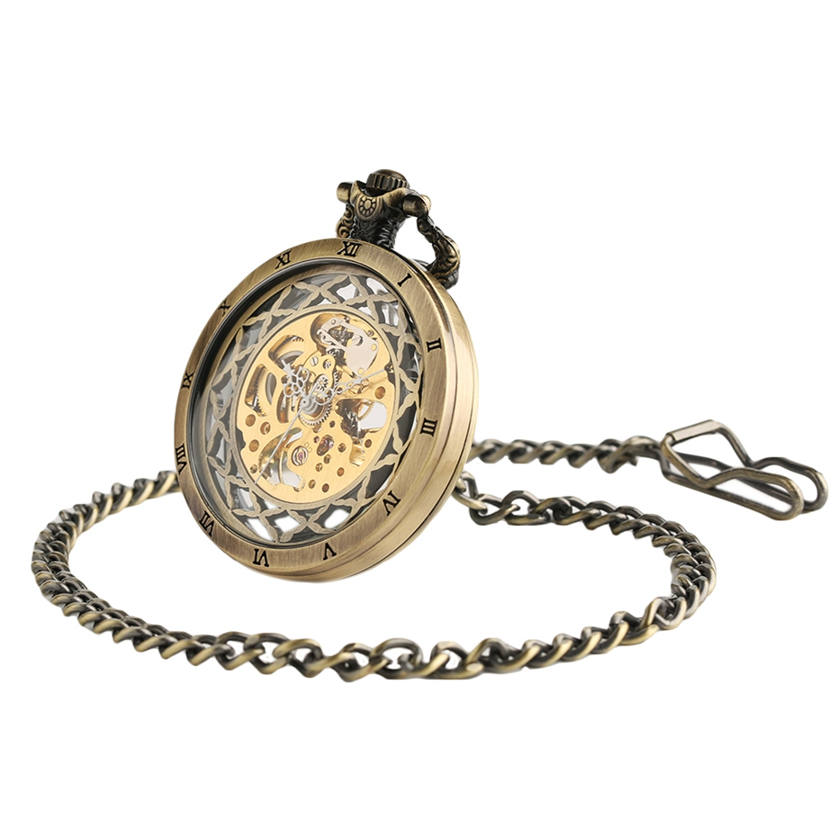 Top Gifts Luxury Transparent Skeleton Hollow Mechanical Watch Retro Hand Winding Analog Pocket Watch for Men Women Antique Style (5)