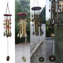 Zero Amazing Antique 4 Tubes Wood Chapel Church Bells Wind Chimes Yard Decor(China)