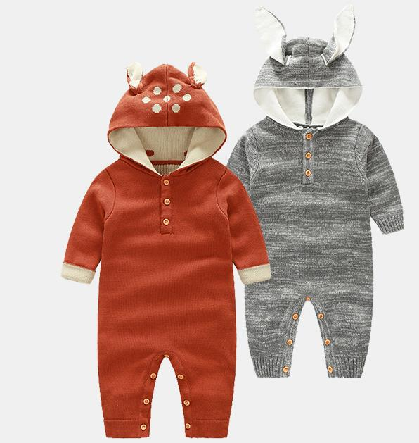 2017 Wholesale autumn winter fashion baby cotton hooded knit fox rompers baby Jumpsuits<br><br>Aliexpress