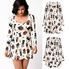 feitong Cute & Funny Women Suit Speciality for Halloween Pumpkin Fox Print Dress Ladies Long Sleeve Party Dress High Quality(China)