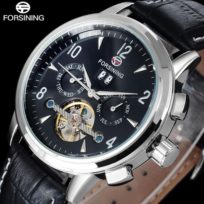 FORSINING brand men fashion tourbillon mechanical watches geneine leather band luxury hot mens automatic skeleton wristwatches<br>