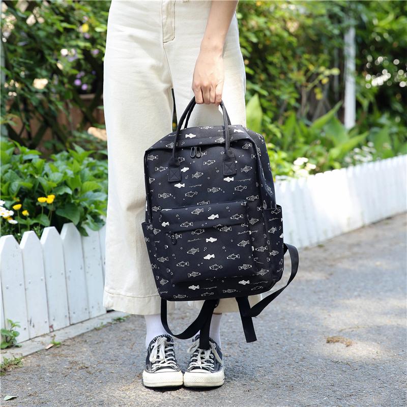 Menghuo Fish Printing Women School Bag Backpack for Teenage Girls Backpacks Female Canvas Children Schoolbag Women Bag s (49)