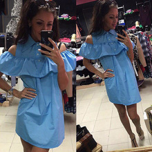 FHILLINUO 2017 Off the Shoulder Straight Summer Sleeveless Beach Casual Patchwork Clothing Blue Pink Fanshion Ruffles Dress(China)