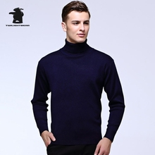 Brand New Men's Sweater Winter Fashion Turtle Neck Wool Pure Color Slim Elastic Sweater For Men Men Pullovers 7 Colors CF15728(China)