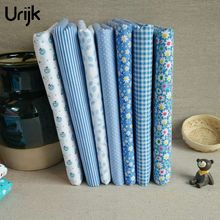 Urijk 7PCs/Lot 25x25cm Mixed Fabric DIY Patchwork Blue Flower Series Quilting Fabric Tissu Patchwork Sewing Accessories(China)