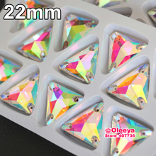 12pcs 22mm Tri angle Shape Crystal AB color Sew On Rhinestones Flatback Glass Sewing Crystal Beads For Garments Dress Y1024(China)